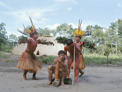 Kamayura Indian Fish Dance, Xingu, Brazil, South America Photographic Print by Robin Hanbury-tenison