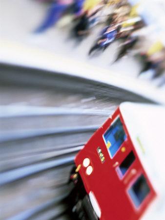 Blurred Motion of Underground Train Leaving Station, London, England, United Kingdom Photographic Print by Simon Harris