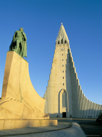 Statue of Liefer Eriksson and Hallgrimskikja Church, Reykjavik, Iceland, Polar Regions Photographic Print by Simon Harris