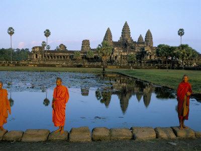Monks in Saffron Robes, Angkor Wat, Unesco World Heritage Site, Siem Reap, Cambodia, Indochina Photographic Print by Bruno Morandi