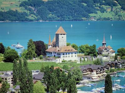 View of Spiez Over Lake Thun, Swiss Lakes, Switzerland Photographic Print by Simon Harris