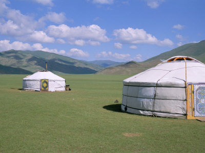 Yurts (Ghers) in Orkhon Valley, Ovorkhangai Province, Mongolia, Central Asia Photographic Print