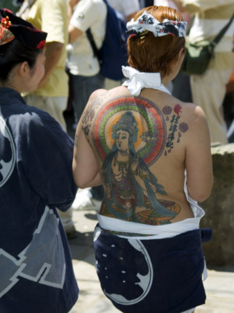 Girl with Shiva Tattoo on Back, Sensoji Temple, Asakusa, Japan Photographic