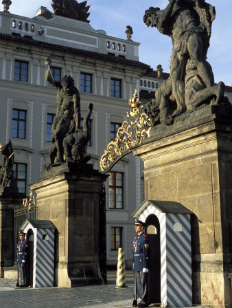 Two Guards in Front of the Gate to Prague Castle, Hradcany, Czech Republic Photographic Print by Richard Nebesky