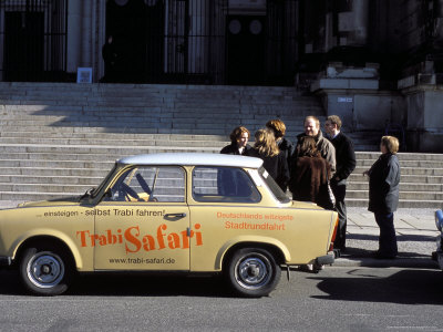 Group of People Talking Beside a Trabant Tour Car, Mitte, Berlin, Germany Photographic Print by Richard Nebesky