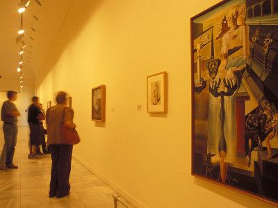 Visitors Studying Salvador Dali's El Hombre Invisible in Museo Nacional Centro De Arte Reina Sofia Photographic Print by Richard Nebesky