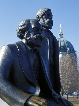 Close-Up of Statue of Marx and Engels, Alexanderplatz Square, Mitte, Berlin, Germany Photographic Print by Richard Nebesky