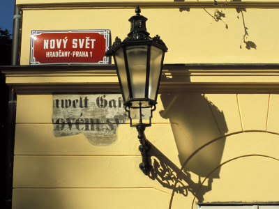 Current and Historical Street Signs with Lamp on a Wall, Hradcany, Prague, Czech Republic Photographic Print by Richard Nebesky