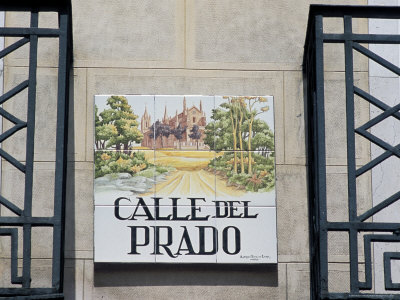 Close-Up of a Tile Street Sign, Calle Del Prado, Centro, Madrid, Spain Photographic Print by Richard Nebesky