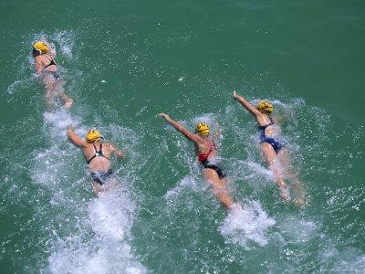 Swimming race in open water.