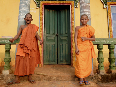 Young Buddhist Novices Relax Outside Their Temple in Sen Monorom, Cambodia, Southeast Asia Photographic Print