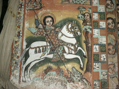 St. George and Dragon, Uran Kidane Meherate Church, Zege Peninsula, Lake Tana, Ethiopia, Africa Photographic Print by Sybil Sassoon