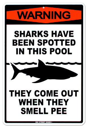 Sharks In The Pool Tin Sign