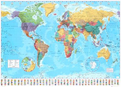 Verdenskart plakater hos for Mapa del mundo decoracion