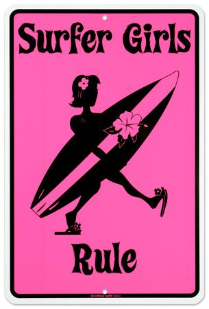 Surfer Girls Rule Tin Sign