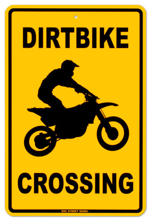 Dirtbike Crossing Tin Sign