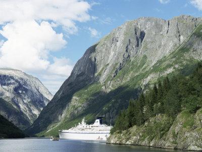 Cruise Ship at Gudvangen, Naeroyfjorden, Unesco World Heritage Site, Western Fiordlands, Norway Photographic Print by Tony Waltham
