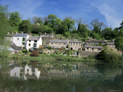 Houses Beside the Comford Mill Pond, Matlock, Derbyshire, England, United Kingdom Photographic Print by Tony Waltham
