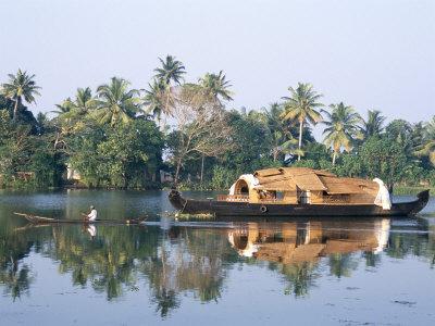 Tourists' Rice Boat on the Backwaters Near Kayamkulam, Kerala, India Photographic Print by Tony Waltham