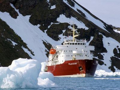 Ice-Breaker Tour Ship, Krossfjorden Icebergs, Spitsbergen, Svalbard, Norway, Scandinavia Photographic Print by Tony Waltham