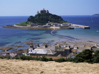 Submerged Causeway at High Tide, Seen Over Rooftops of Marazion, St. Michael's Mount, England Photographic Print by Tony Waltham