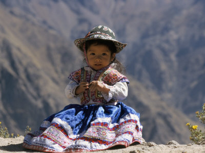 Little Girl in Traditional Dress, Colca Canyon, Peru, South America Fotografie-Druck