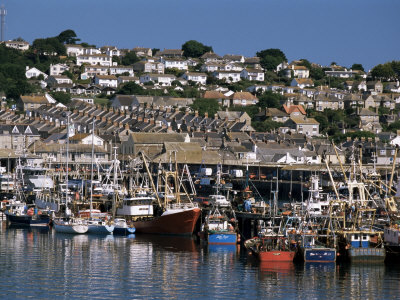 Fishing Boats in Harbour, Newlyn, Cornwall, England, United Kingdom Photographic Print by Tony Waltham