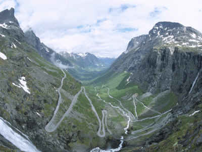 Route from Andalsnes to Geiranger, Trollstigen Road, Western Fiordlands, Norway, Scandinavia Photographic Print by Tony Waltham