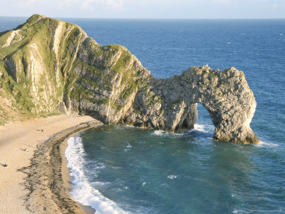 Wave-Cut Arch in Limestone Headland, Durdle Door, Jurassic Heritage Coast, Isle of Purbeck Photographic Print by Tony Waltham