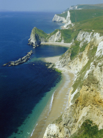 Chalk and Limestone Cliffs Between Lulworth and Durdle Door, Isle of Purbeck, Dorset, England, UK Photographic Print by Tony Waltham