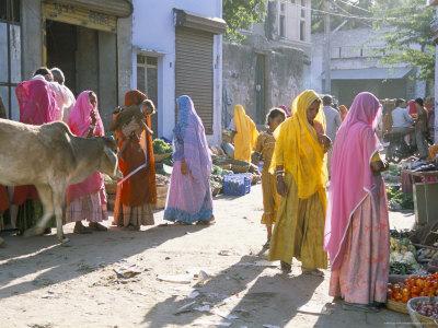 Typical Coloured Rajasthani Saris, Pushkar, Rajasthan, India Photographic Print by Tony Waltham