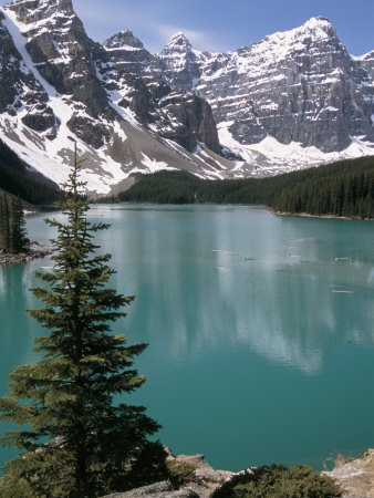 Moraine Lake with Mountains That Overlook Valley of the Ten Peaks, Banff National Park, Canada Photographic Print by Tony Waltham