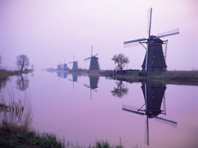 Windmills in Early Morning Mist, Kinderdijk, Unesco World Heritage Site, Holland Photographic Print by I Vanderharst