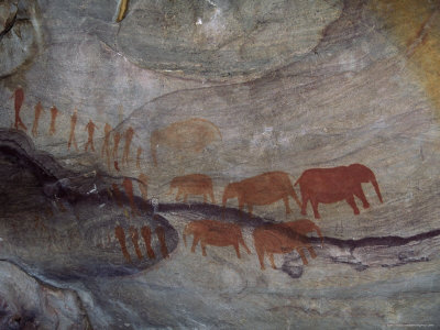 Rock Paintings, Matopo Park, Zimbabwe, Africa Photographic Print by I Vanderharst
