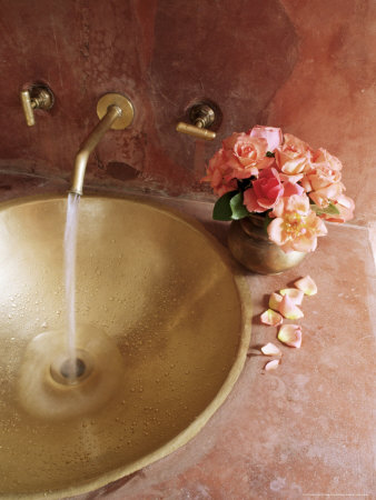 Detail of Brass Hand Beaten Bathroom Sink in Bathroom Area of Residence, Amber, Near Jaipur, India Photographic Print by John Henry Claude Wilson