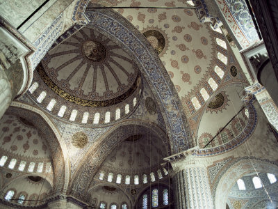 Interior of the Blue Mosque (Sultan Ahmet Mosque), Unesco World Heritage Site, Istanbul, Turkey Photographic Print by John Henry Claude Wilson