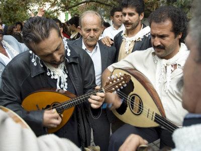 Musicians Attending a Village Wedding, Anogia, Crete, Greek Islands, Greece Photographic Print by Adam Tall
