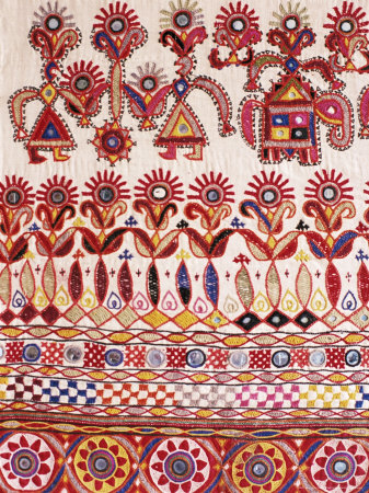 Traditional Rabari Tribal Embroidered Fabrics, Kutch, Gujarat State, India Photographic Print by John Henry Claude Wilson