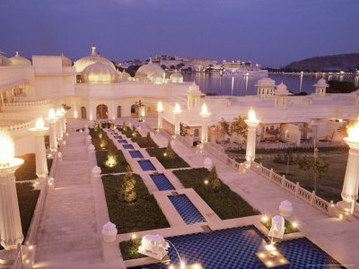 Udai Vilas Oberoi Resort Hotel, Udaipur Lake, Udaipur, Rajasthan State, India Photographic Print by John Henry Claude Wilson
