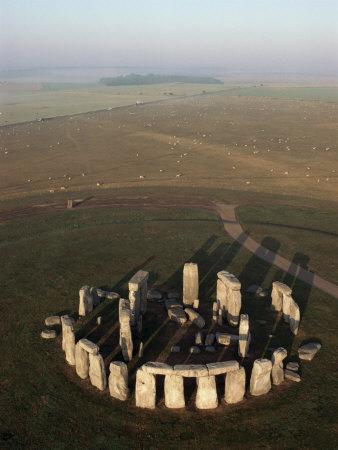 Aerial View of Stonehenge, Unesco World Heritage Site, Salisbury Plain, Wiltshire, England Photographic Print by Adam Woolfitt