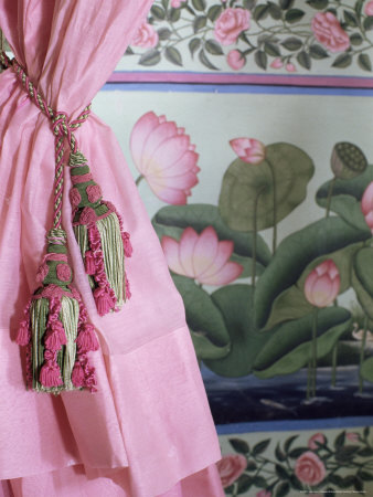 Tassels, Pink Curtains and Painted Walls, the Shiv Niwas Palace Hotel, Udaipur, India Photographic Print by John Henry Claude Wilson