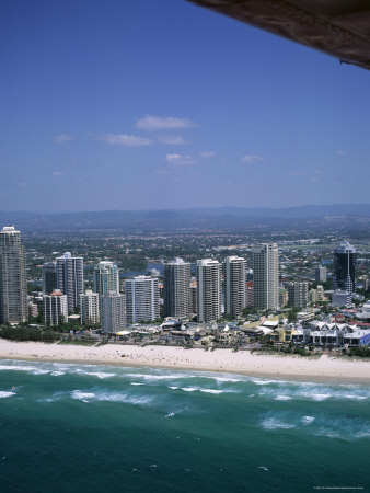 aerial view of central area of surfers paradise  gold coast  queensland