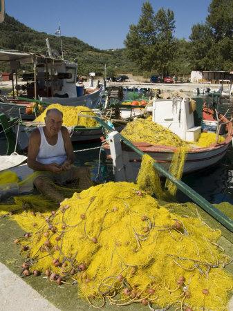 Fishing Boats, Poli Bay, Ithaka, Ionian Islands, Greece Photographic Print by  R H Productions