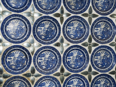 Willow Pattern Plates Embedded in the Walls of the Juna Mahal Fort, Dungarpur, India Photographic Print by  R H Productions