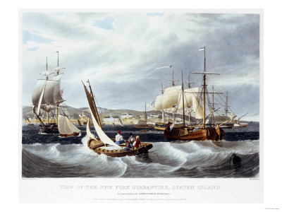 View of New York Quarantine, Staten Island, 1833 Premium Giclee Print by John Bachman