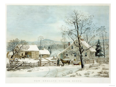New England Winter Scene, 1861, Currier and Ives, Publishers Premium Giclee Print by Mary Cassatt