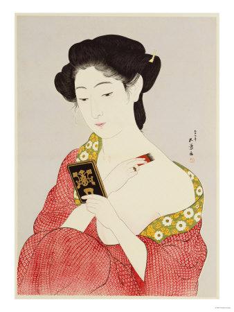 A Woman Powdering Her Neck Premium Giclee Print by Ioki Bunsai