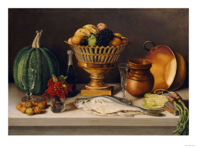 Still Life with Fish and a Pumpkin (Dining Room Scene) Premium Giclee Print by Jose Agustin Arrieta