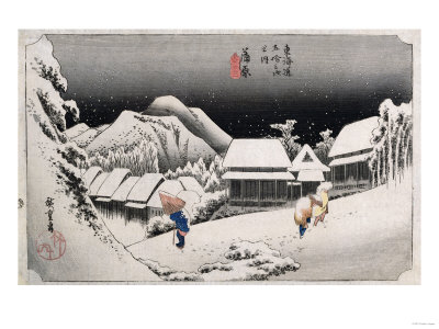 Night Snow, Kambara', from the Series 'The Fifty-Three Stations of the Tokaido' Premium Giclee Print by Ando Hiroshige