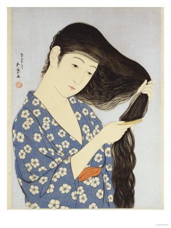 A Young Woman Combing Her Hair Premium Giclee Print by Ioki Bunsai
